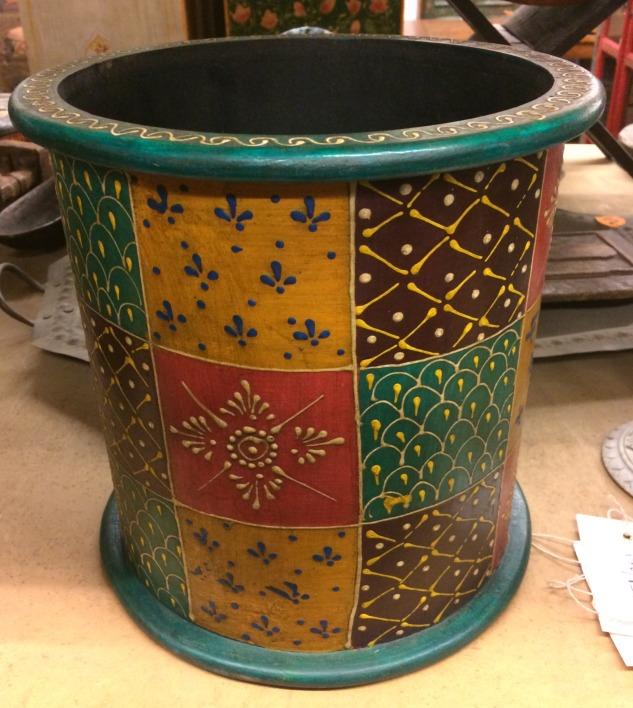 Pot/corbeille en bois peint, 25,5xdiam 25cm