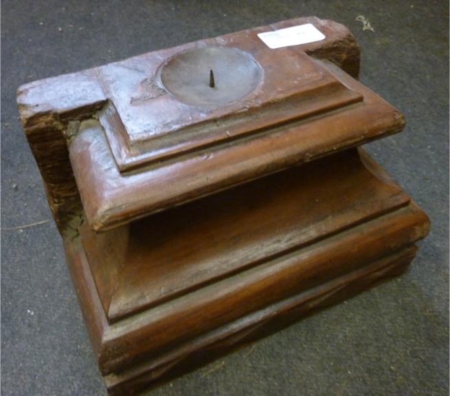 Bougeoir sur applique en bois
