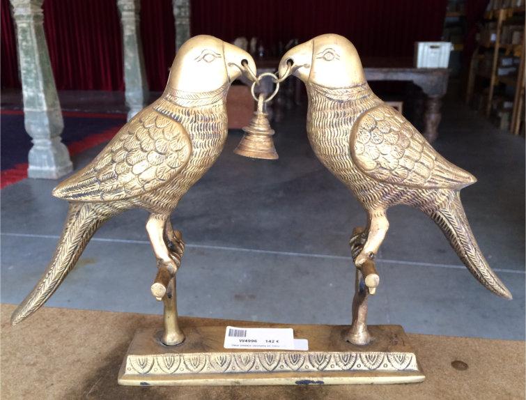 Deux oiseaux +clochette en métal, cm