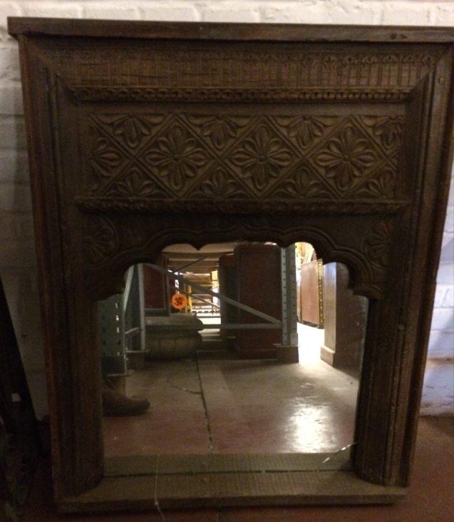 Miroir: cadre fenêtre ancienne en bois, 90x73cm /Destock -30%