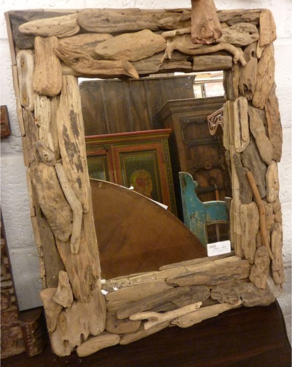 Miroir: cadre en morceaux de teck,  53x58cm