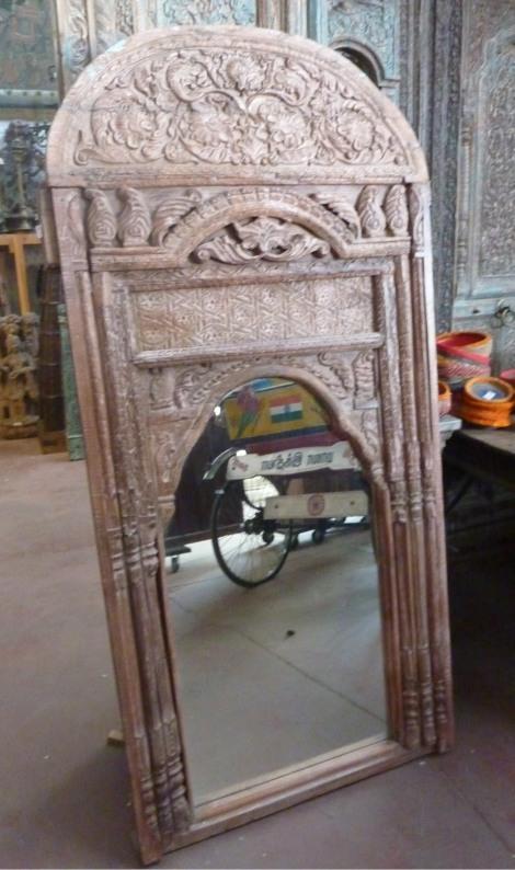 Miroir: cadre fenêtre ancienne en bois sculpté, 191x91cm