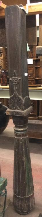 Colonne en bois/shisham noir, base lotus, polygonale+carrée, 200cm
