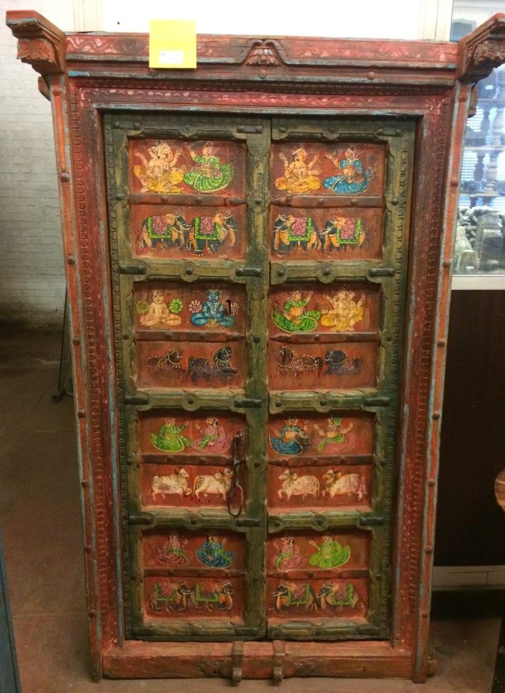 Porte ancienne en bois peint du Rajasthan, 169x95cm
