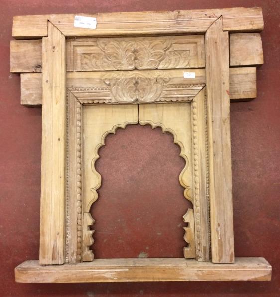 Fenêtre en bois sculpté, 59x58cm
