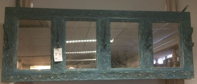 Miroir:cadre ancien en bois/bleu, 50,5x135,5cm