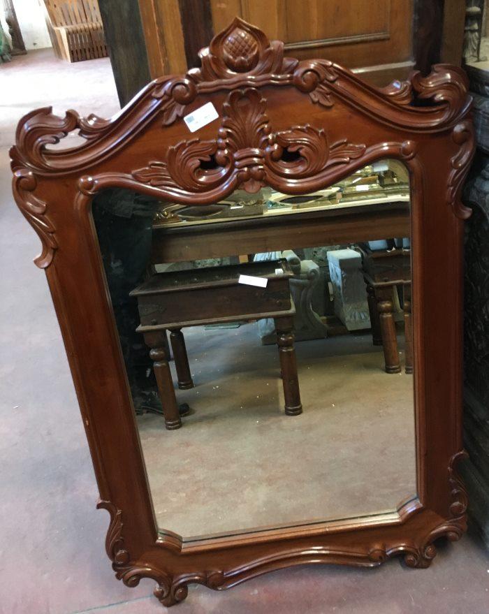Miroir: cadre en bois naturel sculpté, 118x78cm