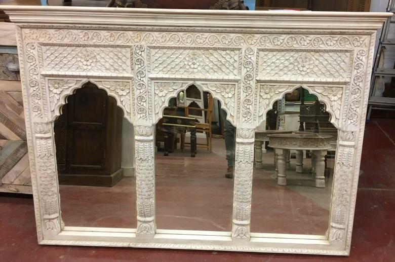 Miroir:cadre-fenetre triple, bois peint blanc, 109x154cm
