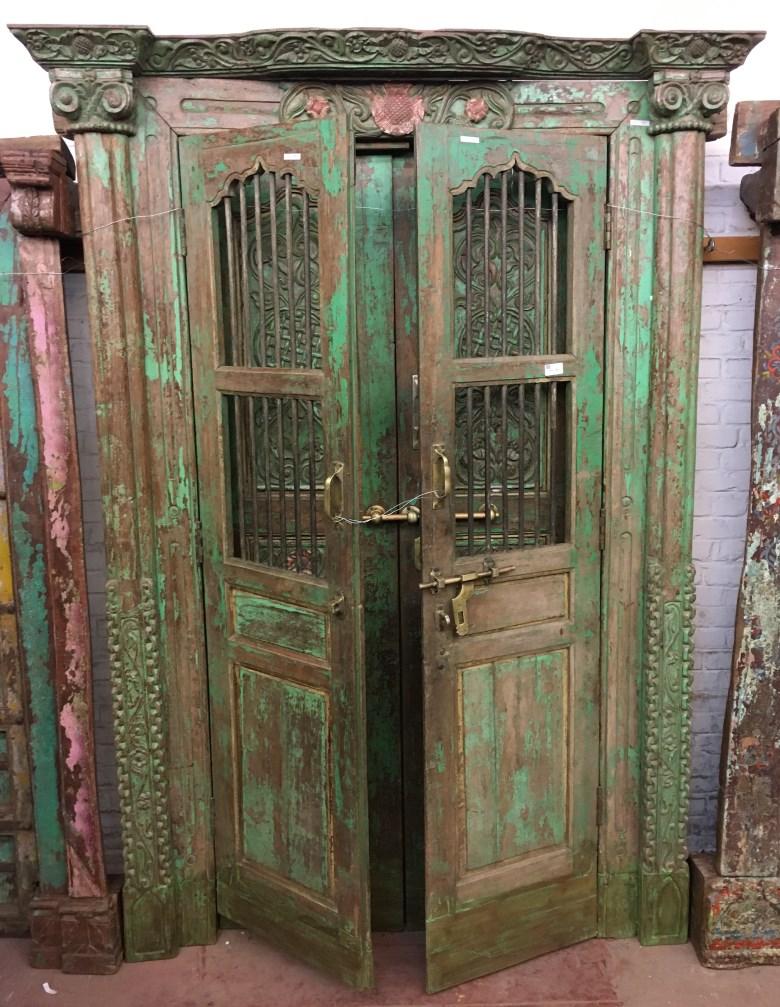 Porte double en bois/metal Rajasthan, 225x144 cm