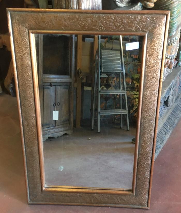 Miroir: cadre en metal bronze,92x61cm