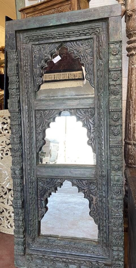 Miroir triple: cadre fenetre ancienne en bois, 162x72cm