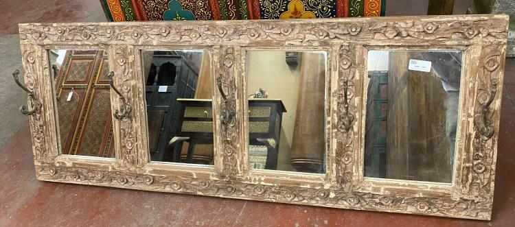 Miroir x4: cadre ancien en bois naturel, 5 crochets, 51x136cm