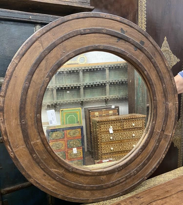 Miroir: cadre en bois/metal, diam. 70 cm