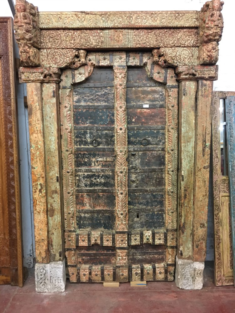 Porte ancienne en bois du Rajasthan, 245 x 160 cm