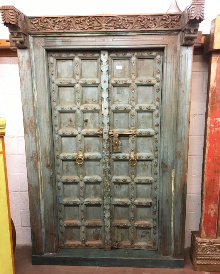 Porte ancienne en bois du Rajasthan, 232 x 152 cm